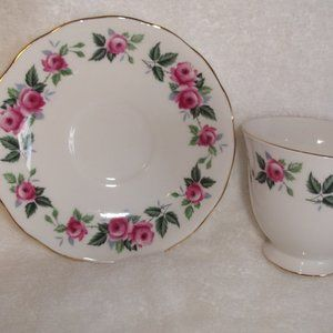 Queen Anne bone china teacup saucer pink roses